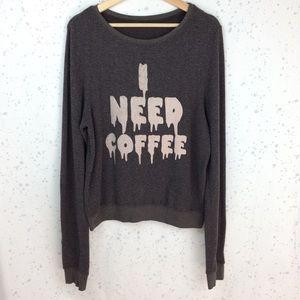 Wildfox I Need Coffee Baggy Beach Jumper L*